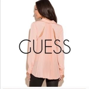 Coral Pleated Back Blouse by GUESS